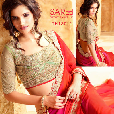 Red Colour shaded Georgette Saree with Heavy Blouse Design in Sri Lanka