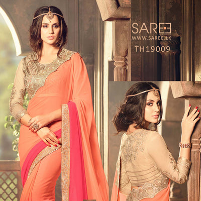 Orange Color Georgette Saree with Heavy Blouse Design in Sri Lanka