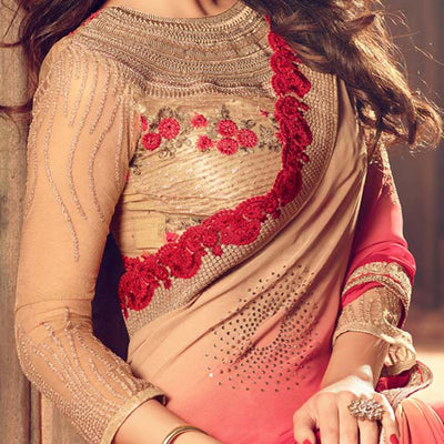 Red & Gold Color Shaded Saree with Heavy Blouse Design