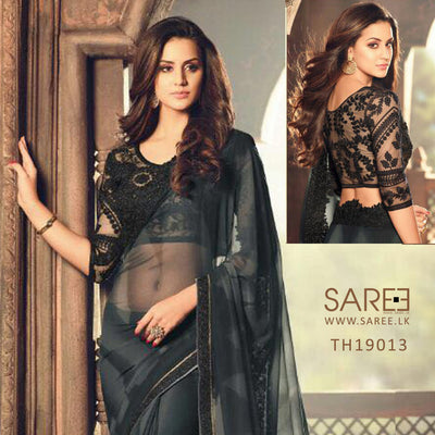 Black Colour Saree with Heavy Blouse Design in Sri Lanka