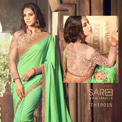 Green Colour Georgette Saree with Heavy Blouse Design in Sri Lanka
