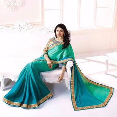 Green Shaded Embroidered Georgette Saree in Sri Lanka