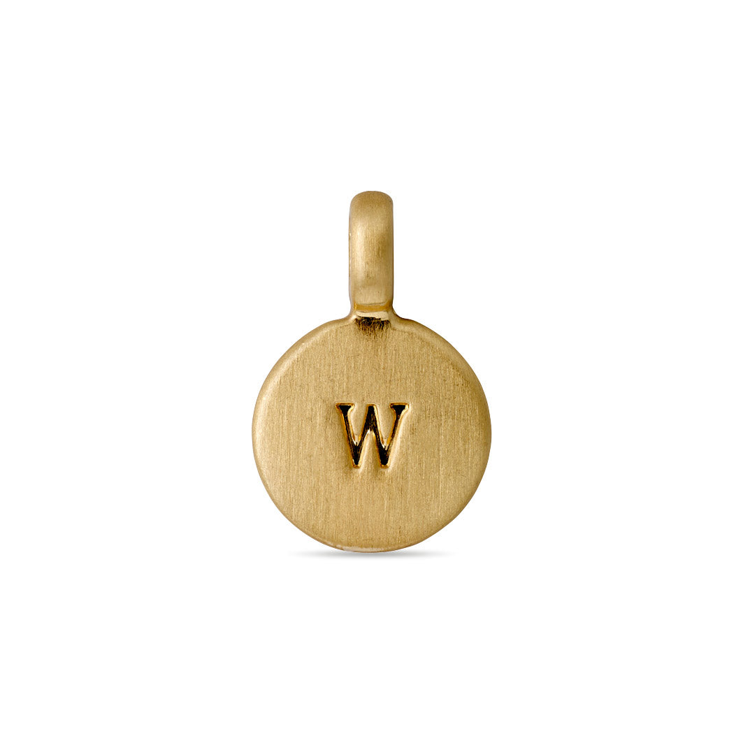 Charm : Letter pendant : Gold Plated : W