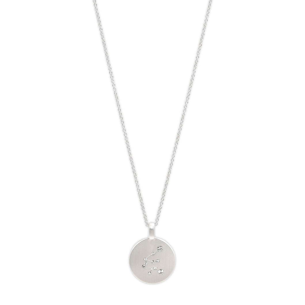Necklace :  AQUARIUS Horoscope : Silver Plated : White