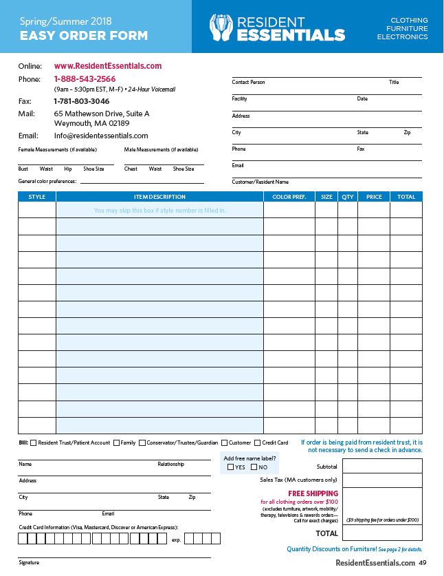 Resident Essentials Order Form