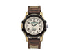 Men's leather band watch with indiglo