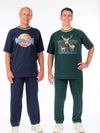 Men's pant outfit with elastic waist pants and screen printed short sleeve top