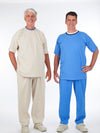 Men's adaptive outfit, side zip pants, back snap top