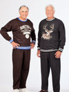 Men's fleece outfit, screen printed, elastic waist fleece pants