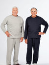 men's adaptive fleece outfit, back snap top, side zip pants
