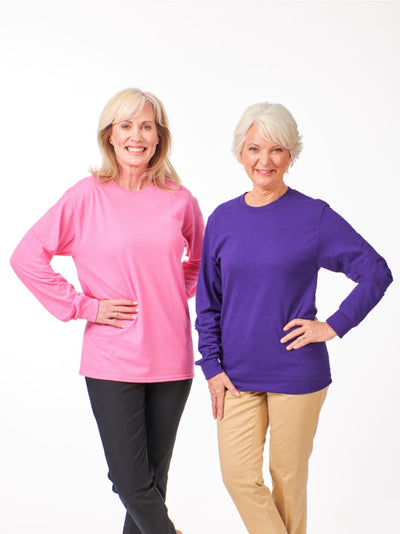 Women's long sleeve tee, Pink and purple long sleeve shirts for women