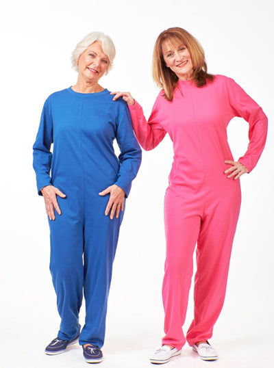 women's one piece jumpsuit, back zip jumpsuit for women. sleeper jumpsuit in blue and pink