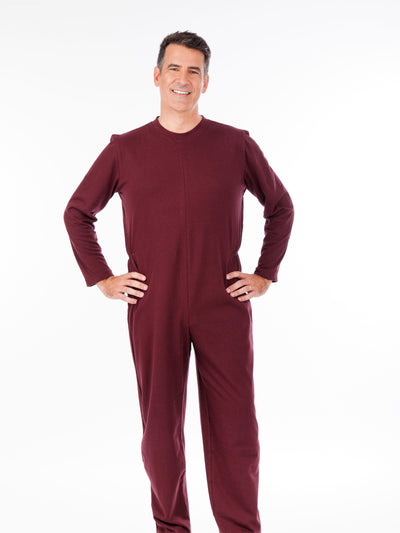 Men's soft knit adaptive jumpsuit, rear zipper, solid color
