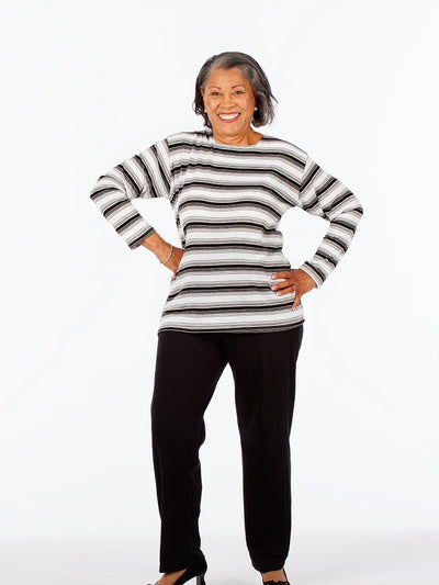 Striped women's square neck outfit
