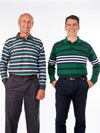 Long sleeve striped polo shirts