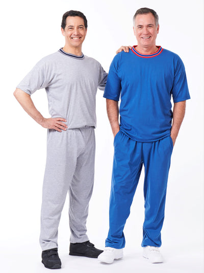 men's solid color short sleeve outfit with elastic waist pants