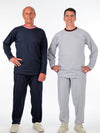 men's long sleeve outfit, knit, elastic waist pants, solid color