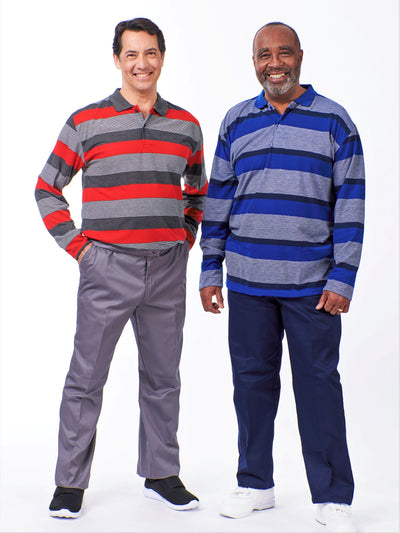 Men's long sleeve striped polo outfits