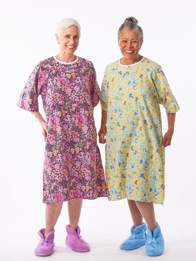 adaptive flannel nightgowns, back wrap flannel women's nightgowns