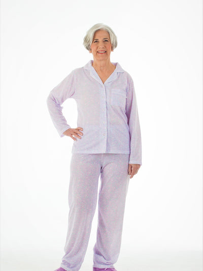 Women's lightweight pajama outfit, button top