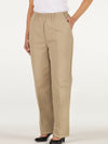Women's elastic waist twill pants with pockets