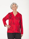 women's zipper jacket with prints & rhinestones