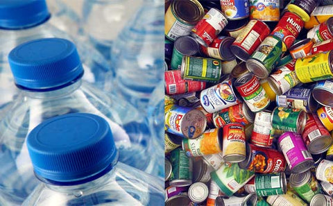 Bottled water and canned food