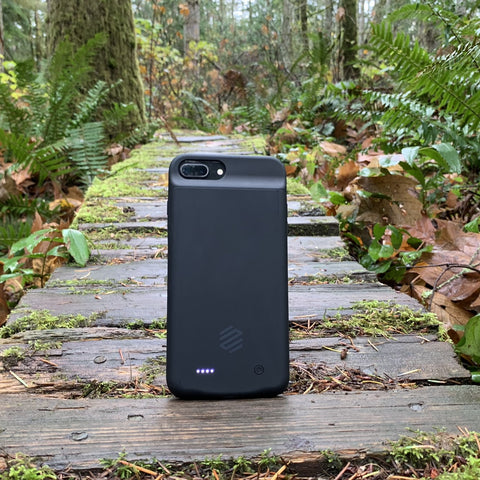 iPhone 8 Plus battery case in woods