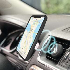 Iphone XS battery charging case attaching to magnet  car vent mount
