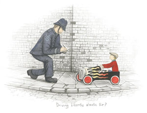 Driving License Please Sir!- Sketch by Leigh Lambert
