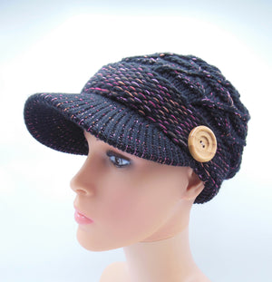 Wooden Button Lined Knit Visor Beanie with Brim - 2 colors