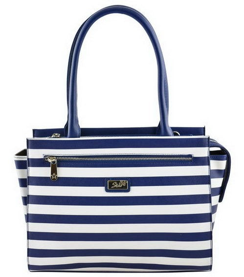 Navy Blue Striped Tote Purse