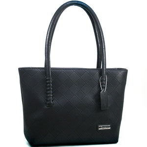Dasein Weave Two-Tone Texture Black Fashion Tote Bag