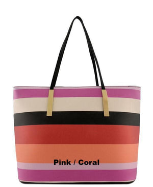 Tote Purse Striped Faux Leather Spring Colors - 4 color choices