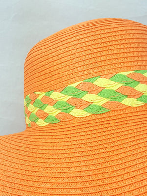 Floppy Braided Summer Hat with Colorful Band