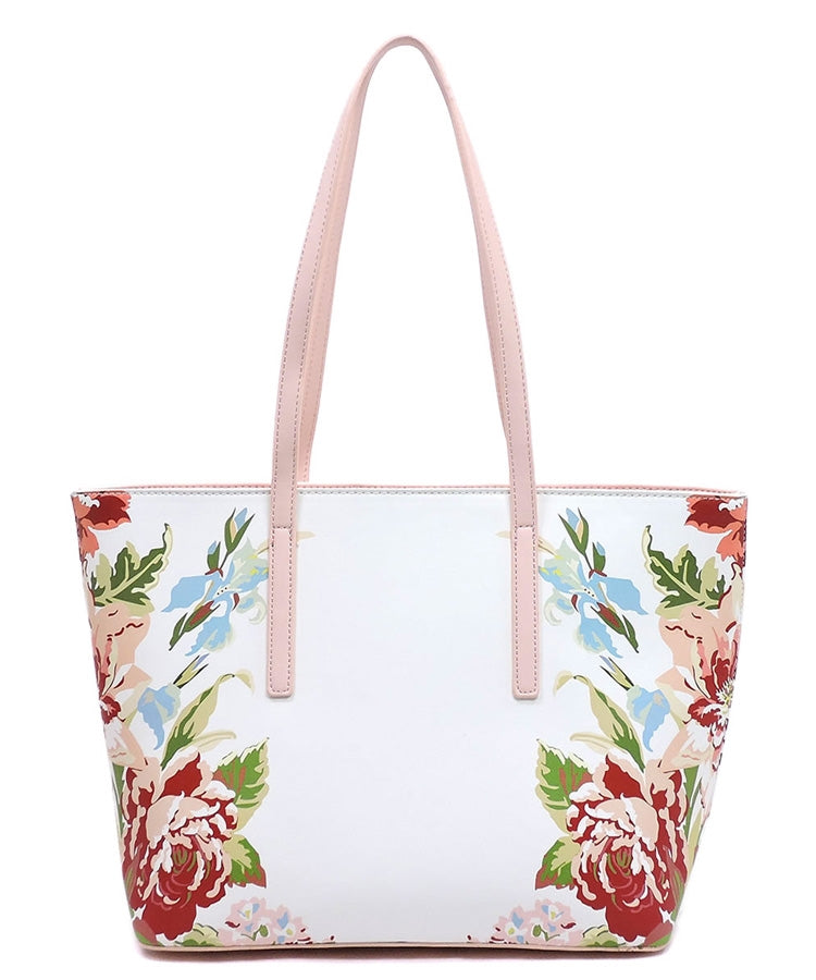 Tote Purse Spring Pink or Mint Floral Pattern Vegan Faux Leather