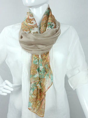 Taupe/Paisley Lightweight Scarf