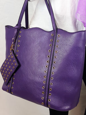 Tote with Grommets and Coin Purse - 2 colors