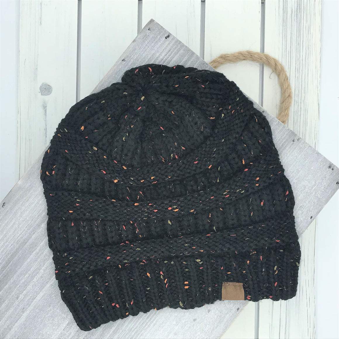 Slouchy Knit Beanie - Black Mixed Confetti