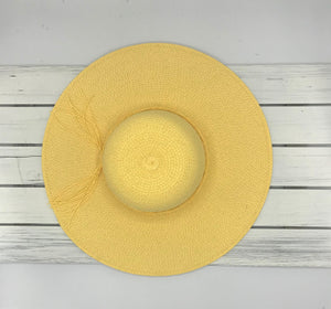 Straw Hat with Band Tie - Yellow