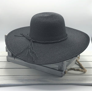 Straw Hat with Band Tie - Black