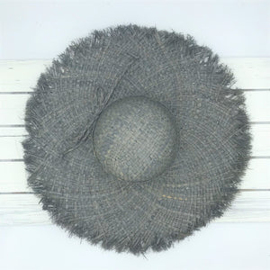 Raffia Straw Hat with Fringe - Grey