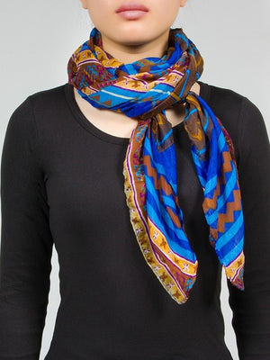 Classic Blue Aztec/Ethnic Long Scarf
