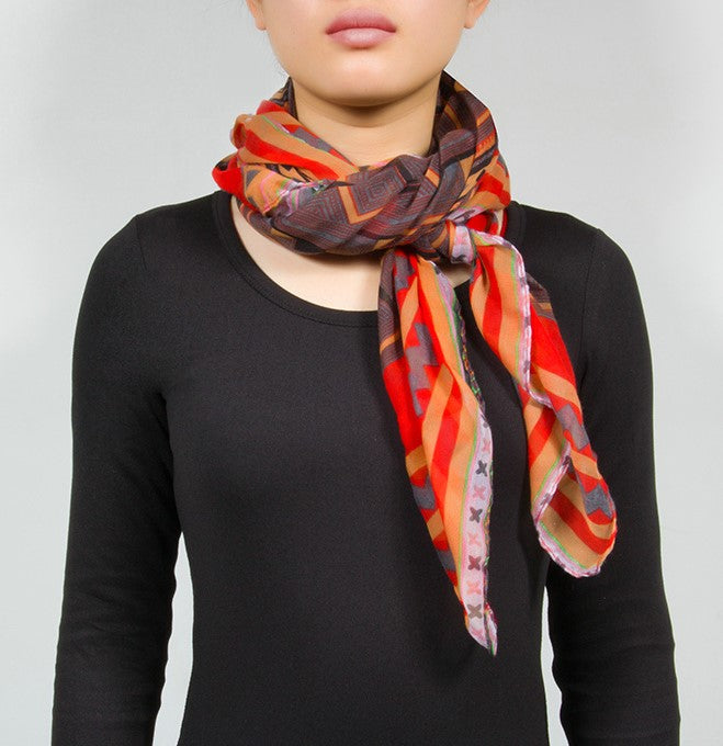 Classic Red Aztec/Ethnic Long Scarf