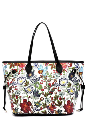 Floral Pattern Tote - White