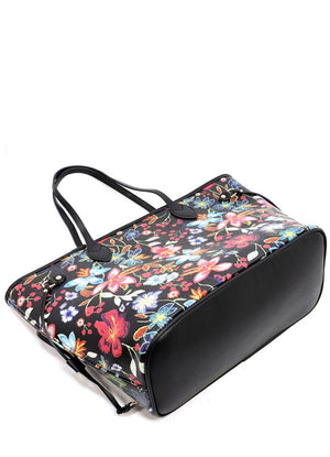 Embroidery Printed Flower Tote - Black
