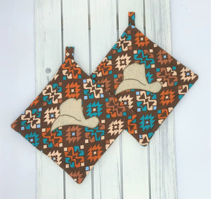 Western Cowboy Hat Potholders - Set of 2