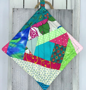Crazy Quilt Potholders - Set of 2