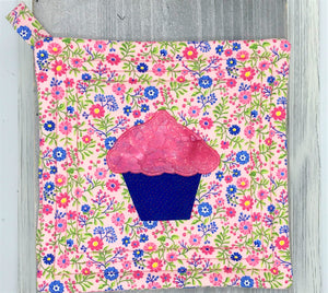 Pink Blue Cupcake Design Potholder