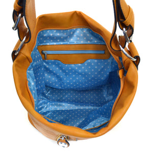 Hobo Tote Purse with Zipper Accents - 3 colors